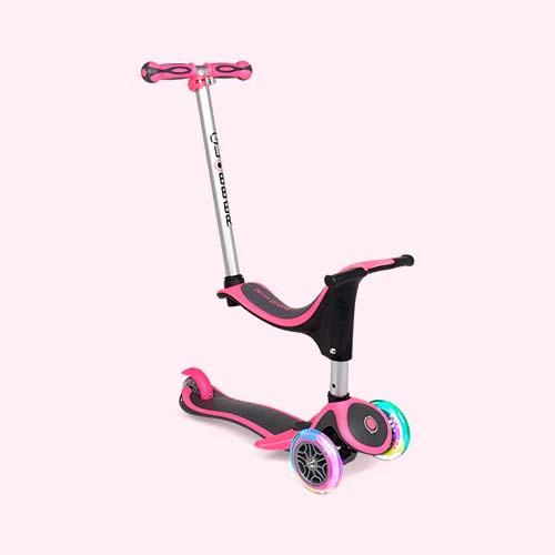 Neon Pink Globber Evo 4-in-1 Scooter Plus Light