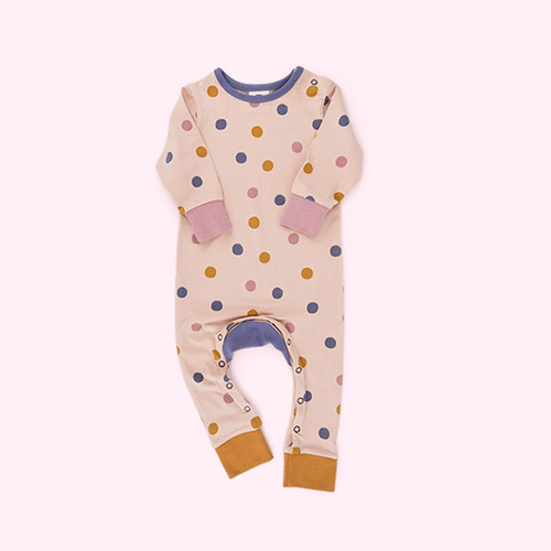 POLKA DOT RUGBY TAN The Bright Company Monty Sleepsuit