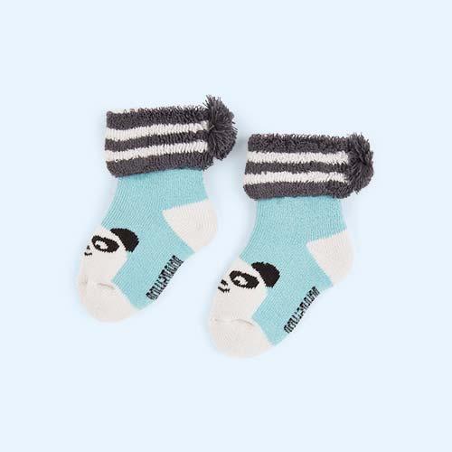 Blue The Bonnie Mob Baby Bootie Pom Pom Socks