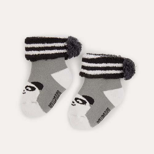 Grey The Bonnie Mob Baby Bootie Pom Pom Socks