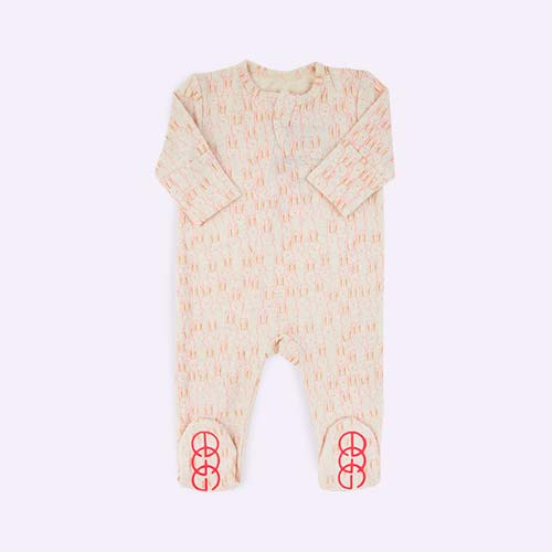 Pink Egg by Susan Lazar Bunny Print Sleepsuit