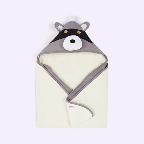 Grey 3 Sprouts Raccoon Hooded Towel