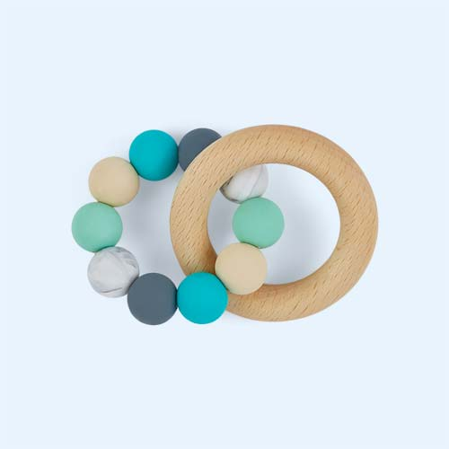 Turquoise Mix Blossom & Bear Wooden Teething Ring Toy