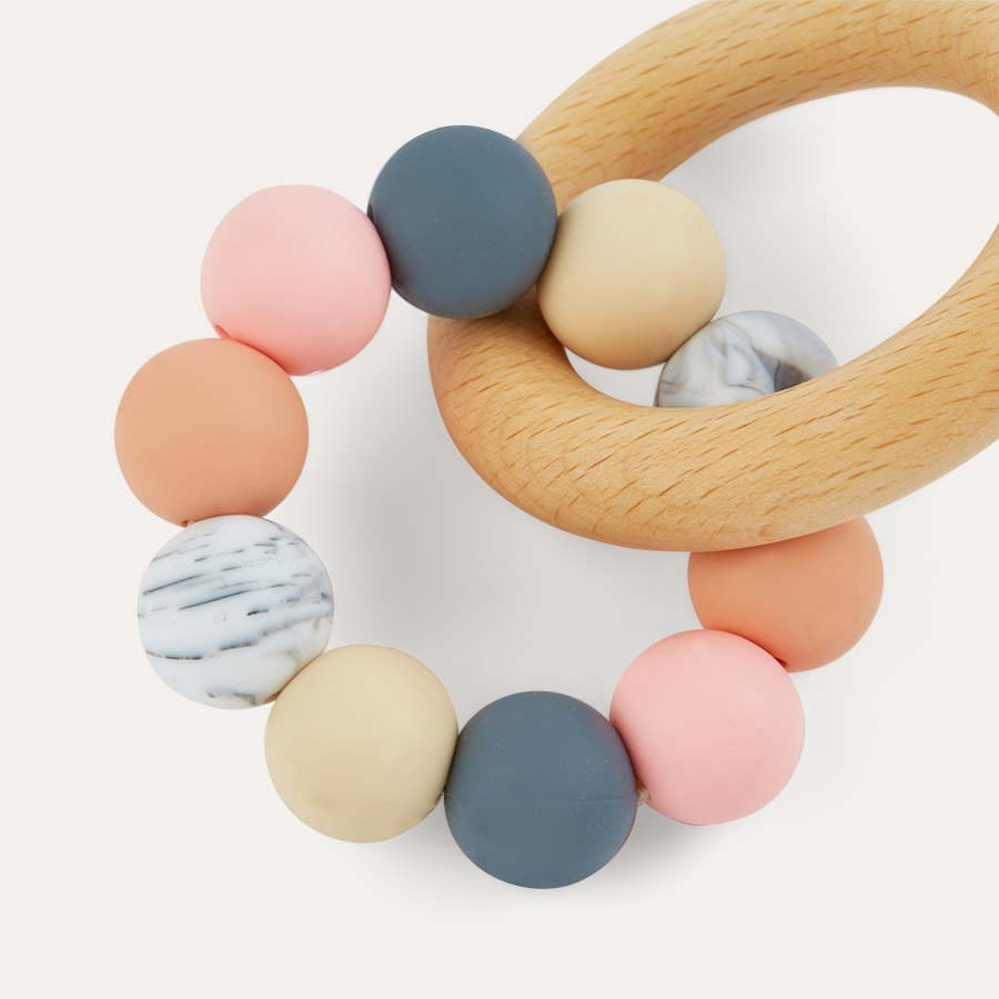 Peach Mix Blossom & Bear Wooden Teething Ring Toy