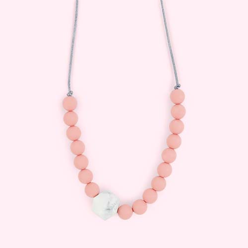 Rose Marble Blossom & Bear Geo Teething Necklace