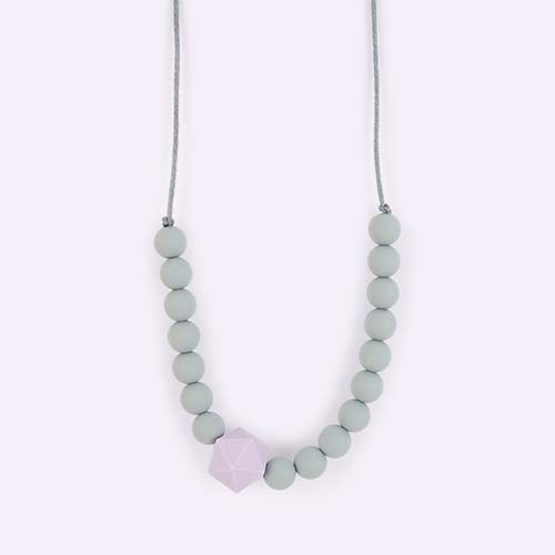 Lavender Blossom & Bear Geo Teething Necklace