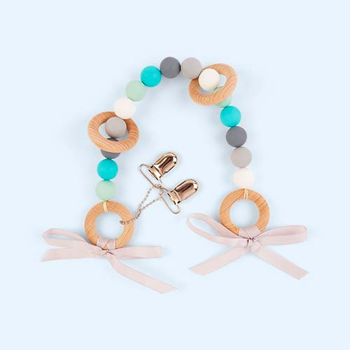 Turquoise Mix Blossom & Bear Pram Garland