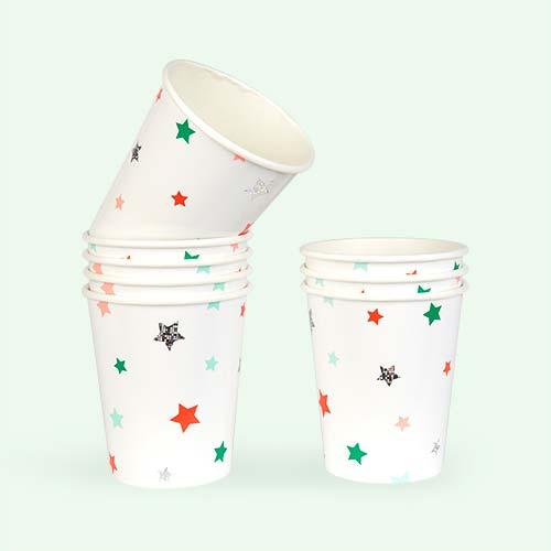 White Meri Meri Stars Cups - 8 Pack