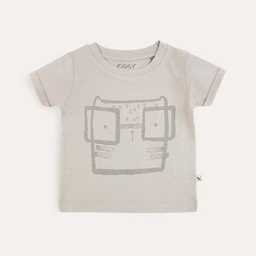 Grey KIDLY Label Printed Tee