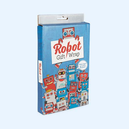 Blue Luckies of London Robot Novelty Gift Wrap Set