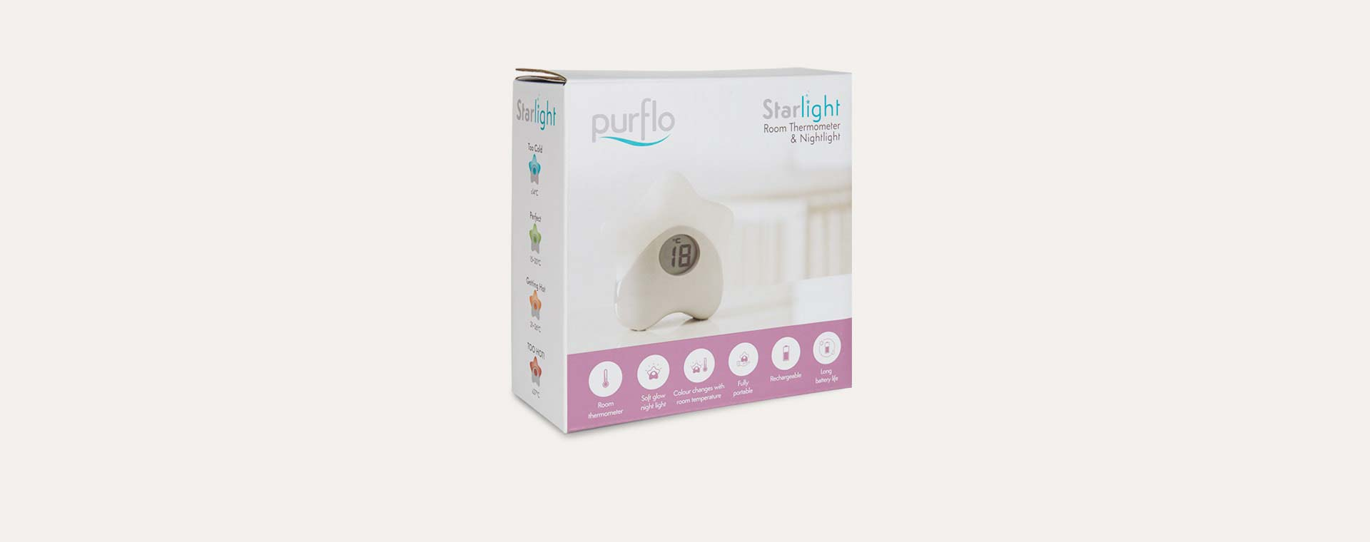 White PurFlo Starlight Room Thermometer