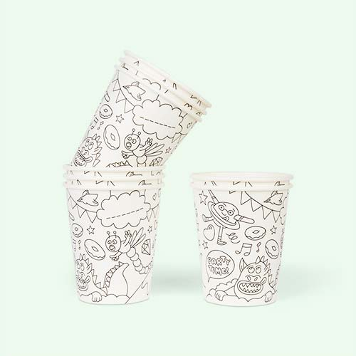 White OMY DESIGN & PLAY Colouring Party Cups - 8 Pack