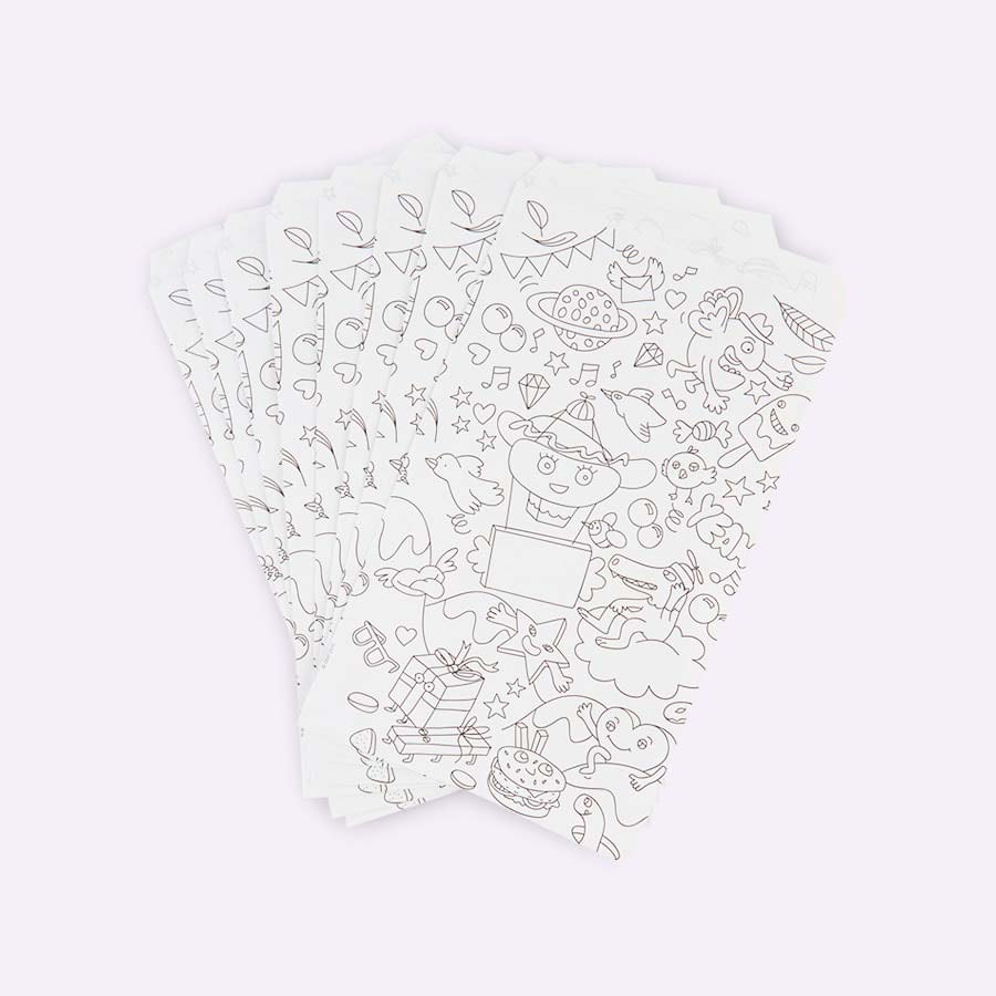 White OMY DESIGN & PLAY Colouring Party Bags - 8 Pack