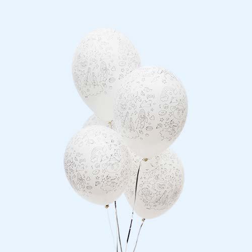 White OMY DESIGN & PLAY Colouring Party Balloons - 5 Pack