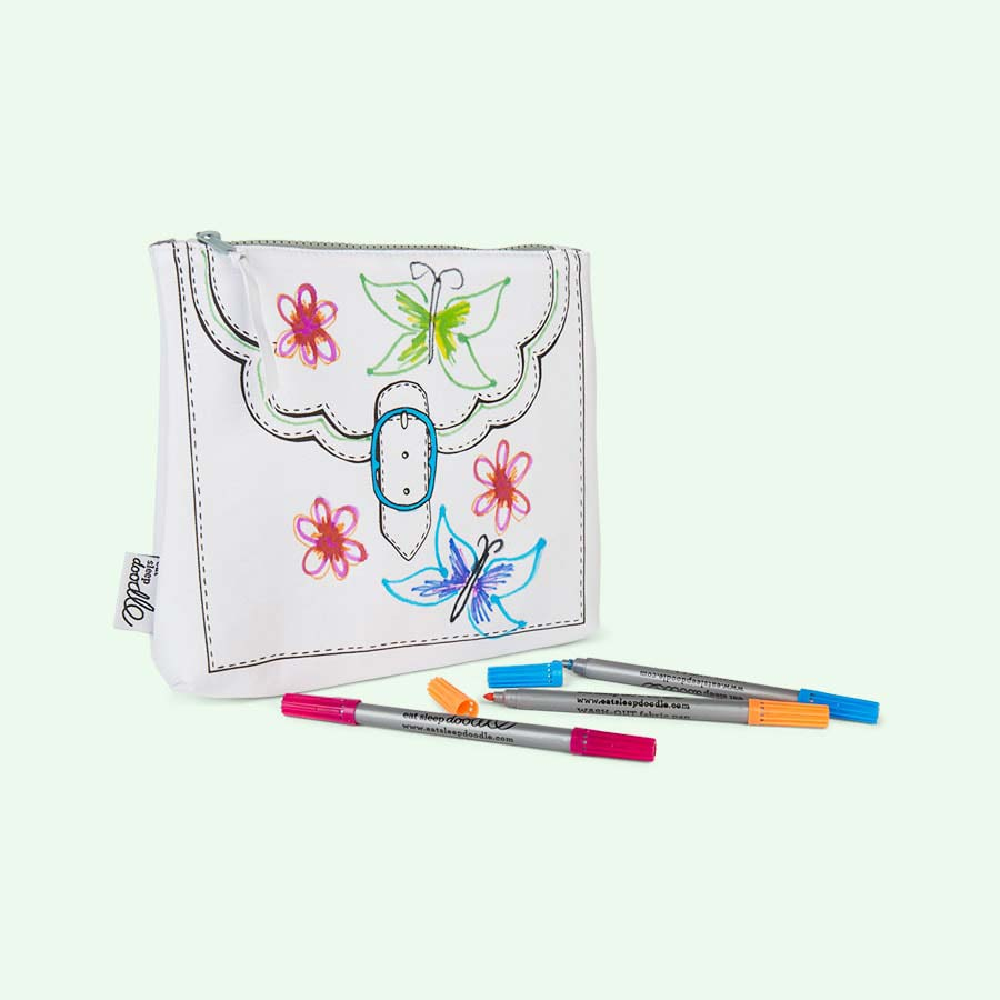 White Eat Sleep Doodle Doodle Designer Accessory Bag