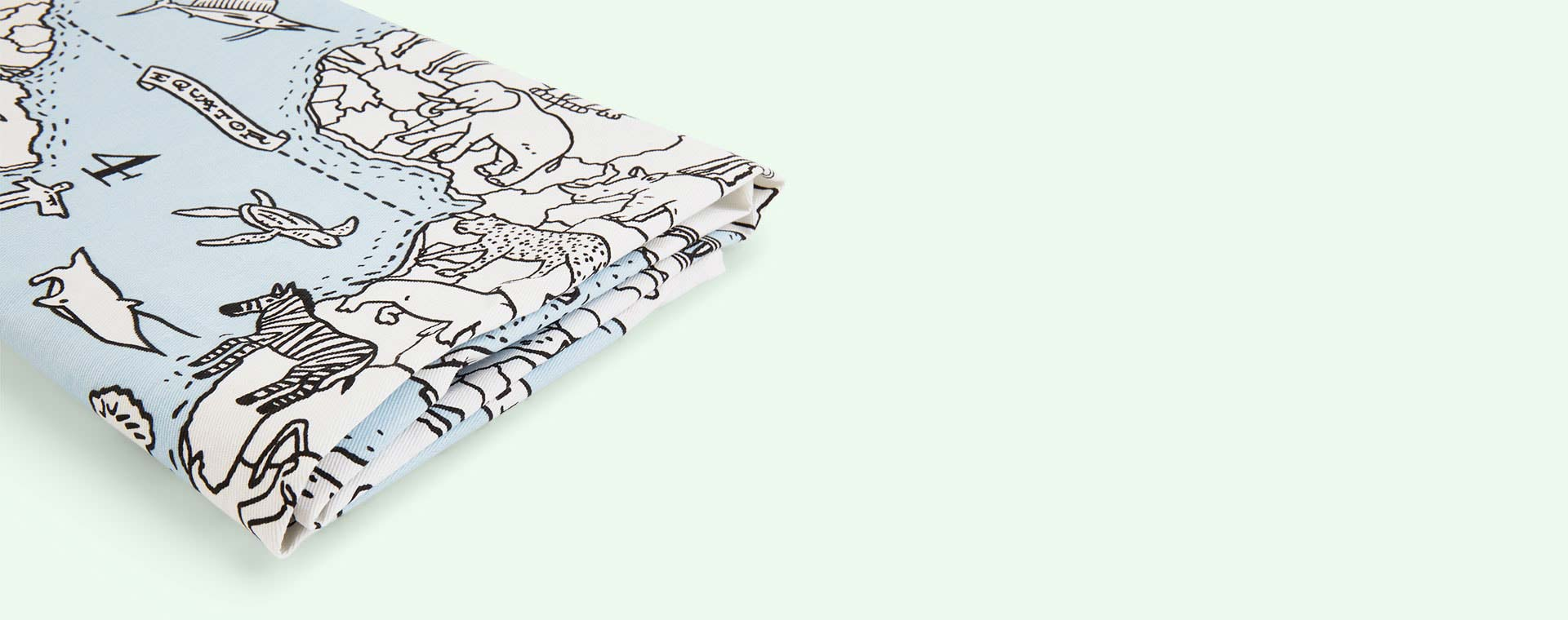 White Eat Sleep Doodle Doodle World Map Table Cloth