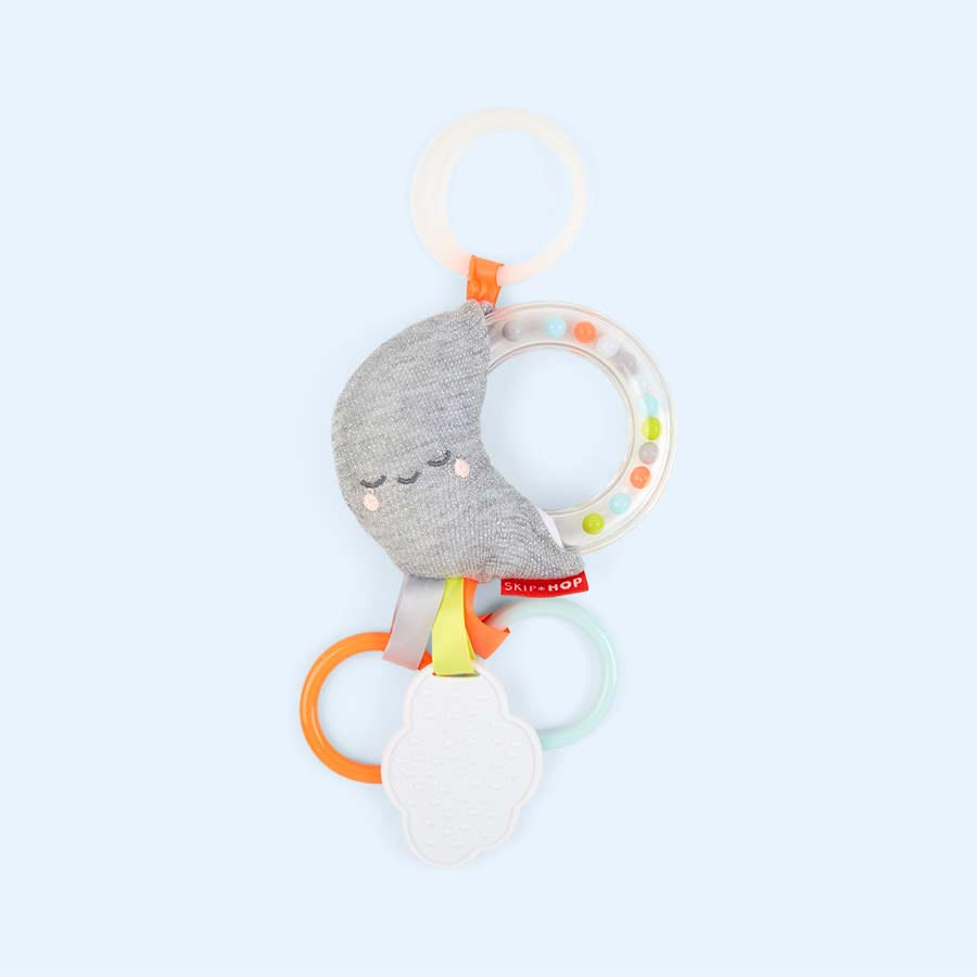 Moon Skip Hop Silver Lining Cloud Rattle Moon Stroller Baby Toy