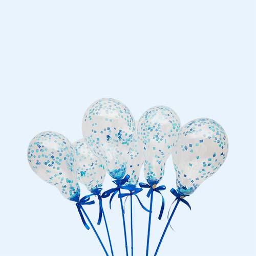 Peacock Blue Bubblegum Balloons Mini Balloon Wands - 6 Pack