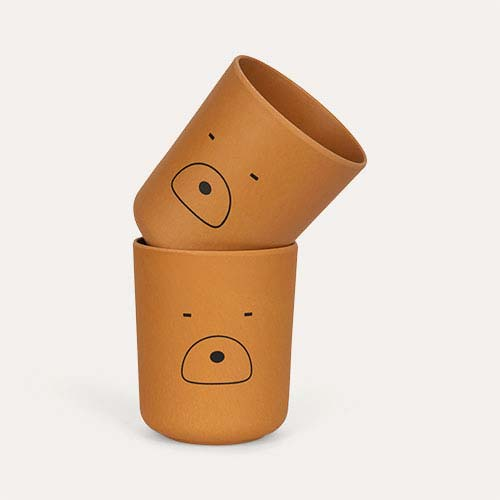Mr Bear Mustard Liewood Bamboo Cups - 2 Pack