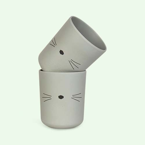 Cat Dusty Mint Liewood Bamboo Cups - 2 Pack