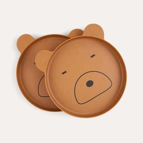 Mr Bear Mustard Liewood Bamboo Plates - 2 Pack