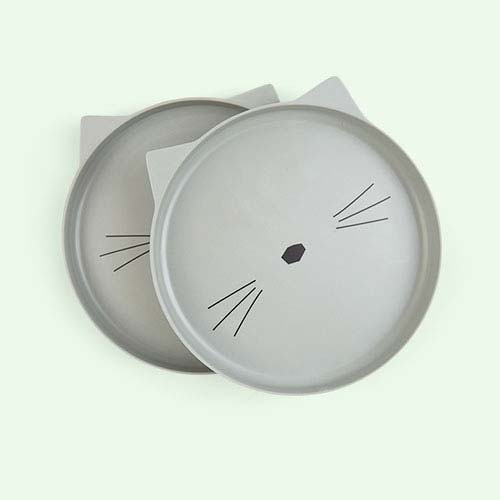 Cat Dusty Mint Liewood Bamboo Plates - 2 Pack