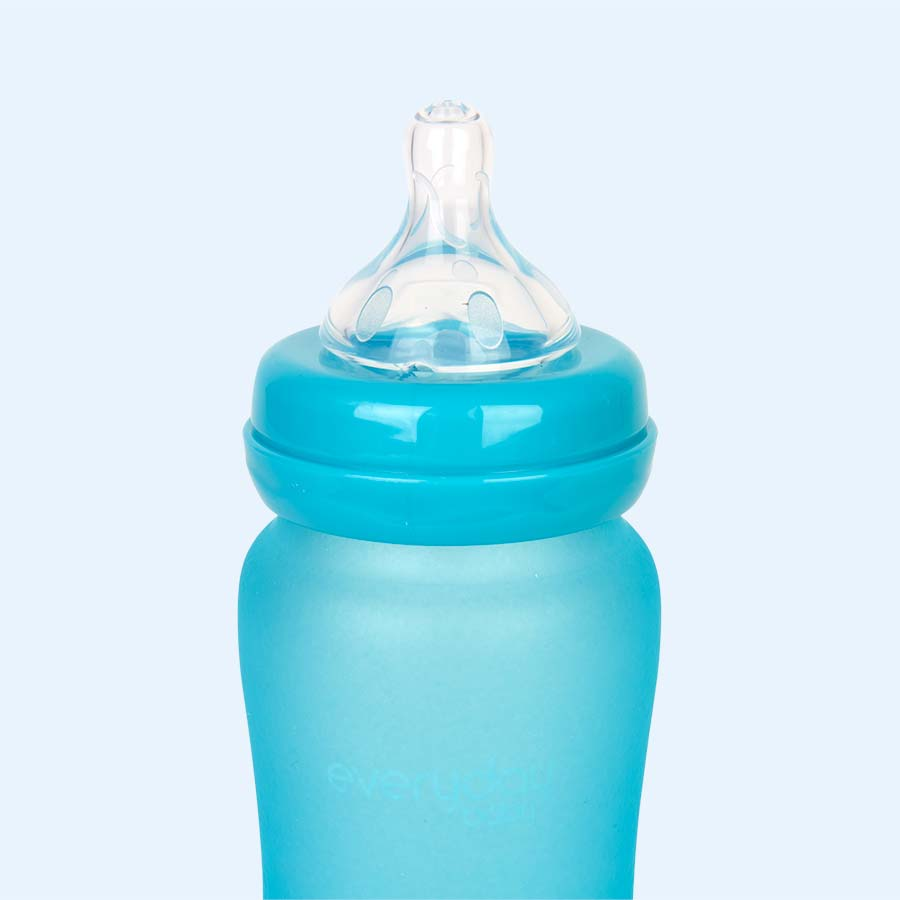 Turquoise Everyday Baby Glass Bottle 240ml