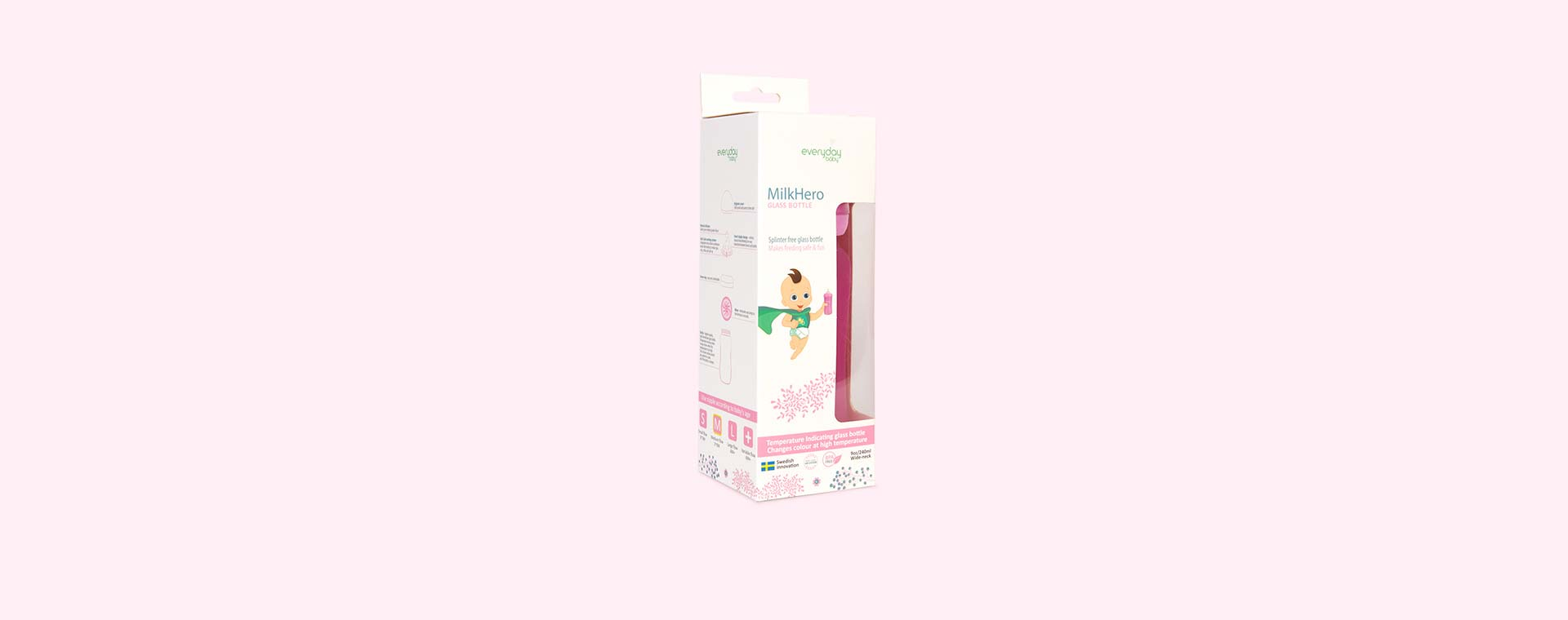 Pink Everyday Baby Glass Bottle 240ml