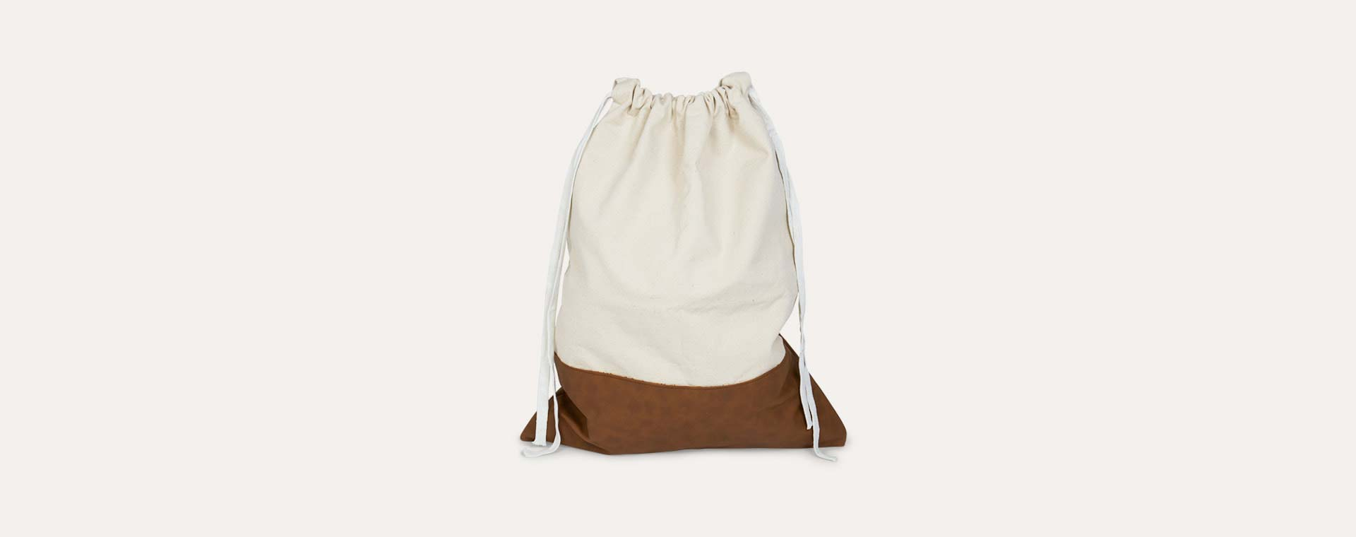 Off White Tellkiddo Fabric Pleather Drawstring Bag
