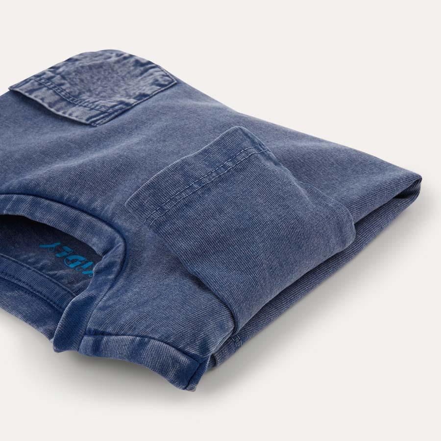 Navy KIDLY Label Long Sleeve Pocket Tee