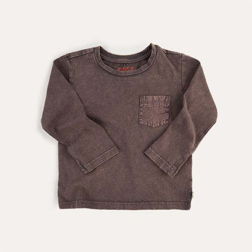Grey KIDLY Label Long Sleeve Pocket Tee