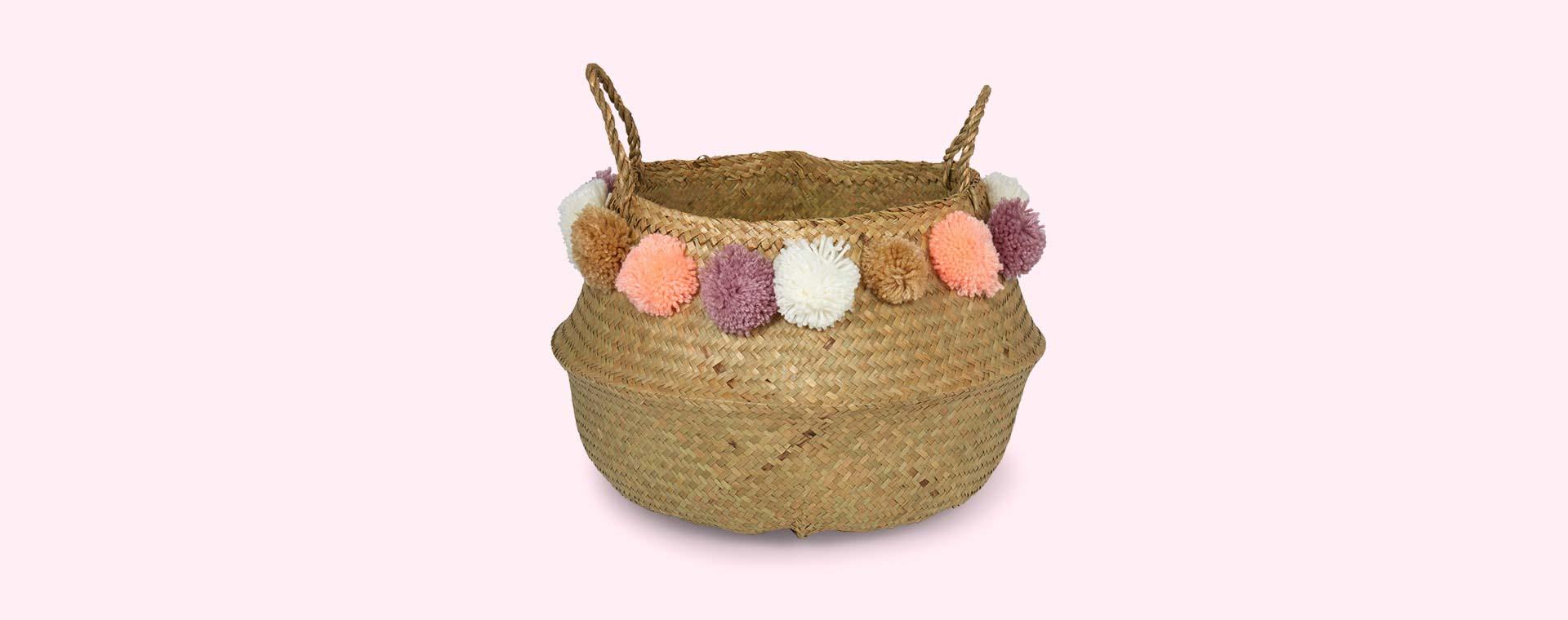 Pom Pom Bloomingville Medium Seagrass Basket with Pom Poms