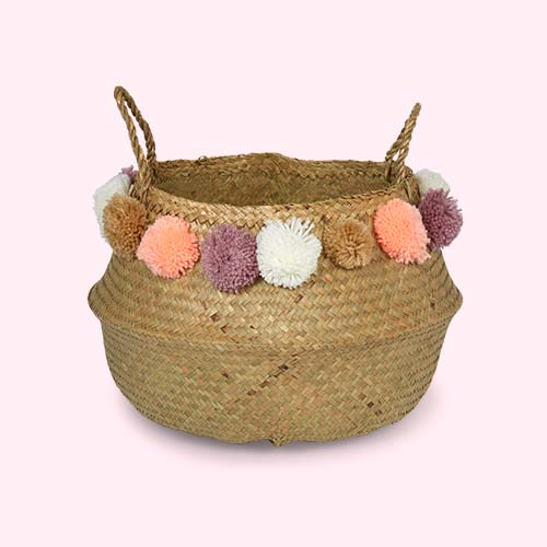 Pom Pom Bloomingville Medium Seagrass Basket with Pom Poms