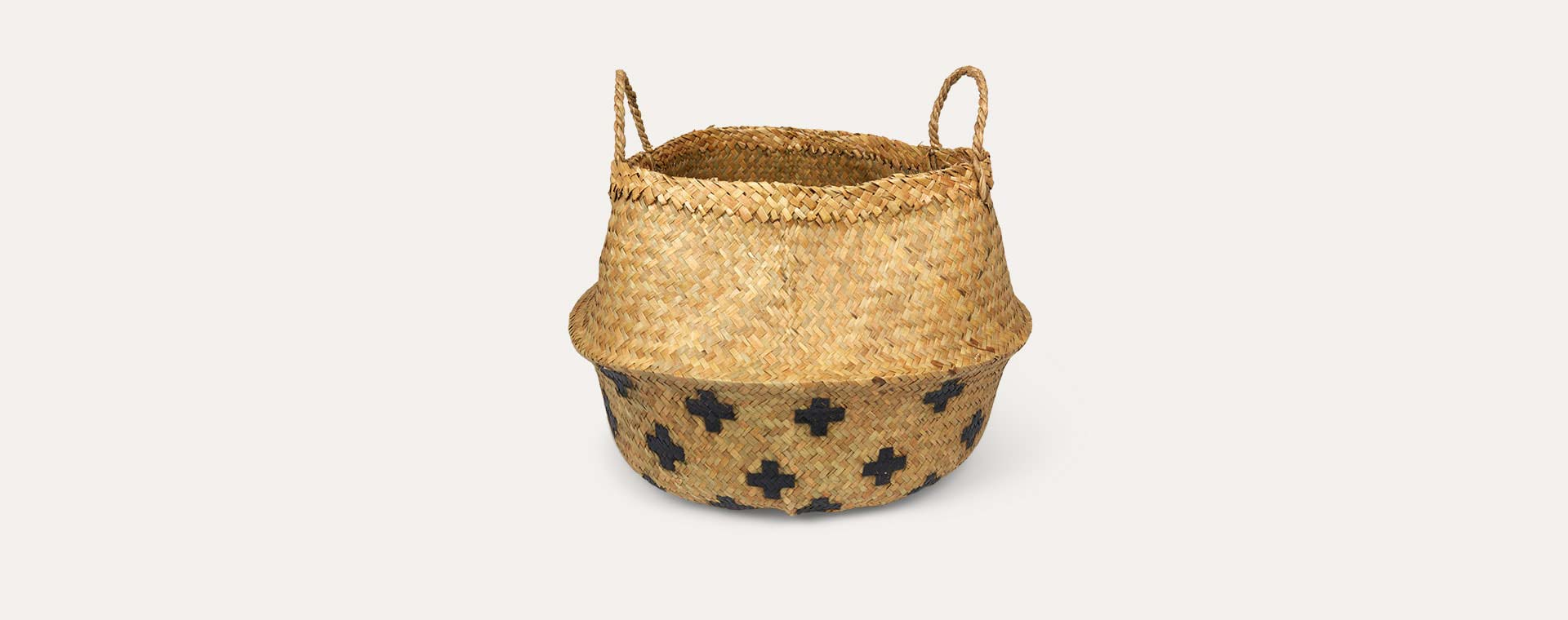 Black Cross Bloomingville Large Seagrass Basket