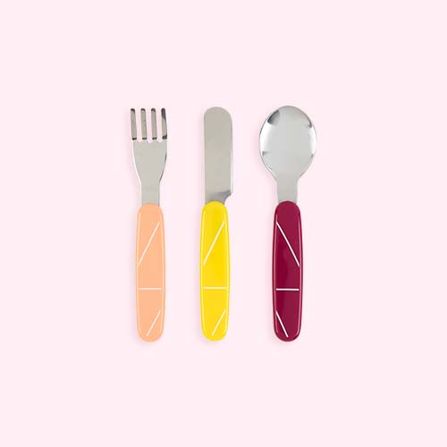 Peach Babymoov Stainless Steel Cutlery Set