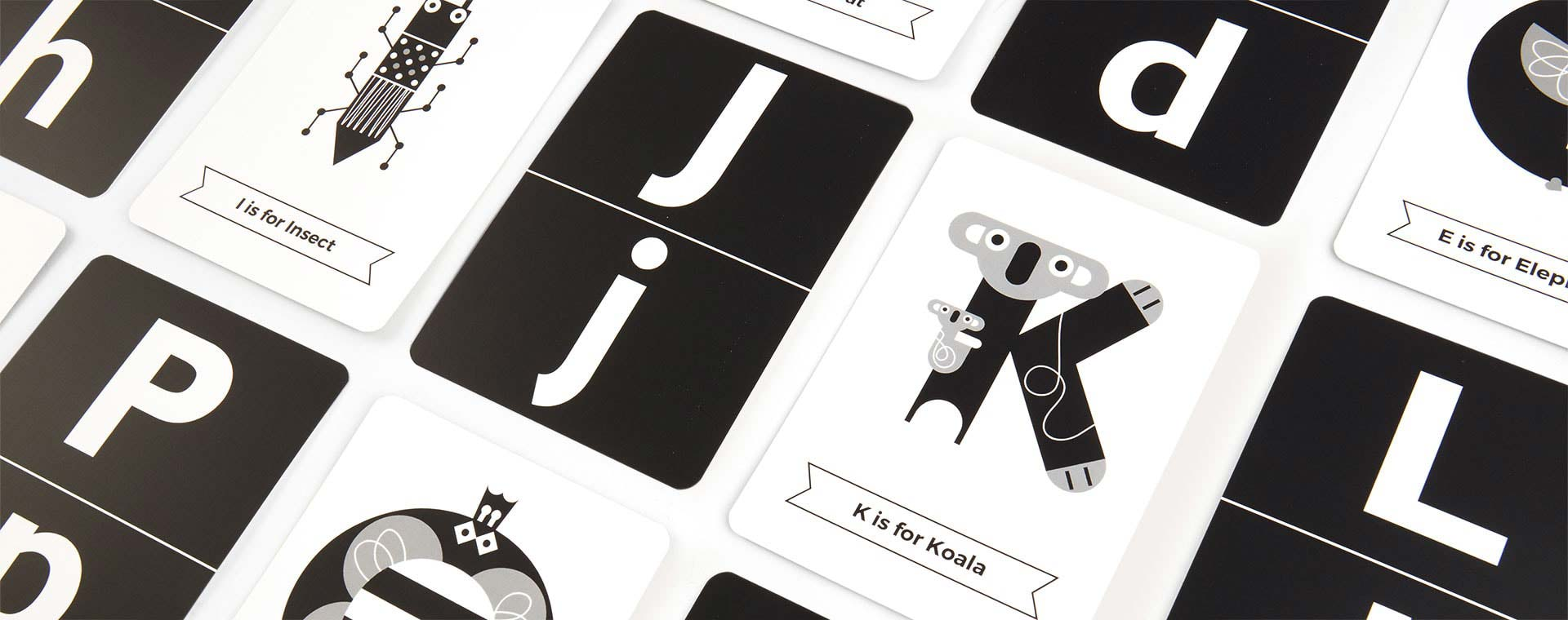 Black & White The Jam Tart Animal Alphabet Flash Cards