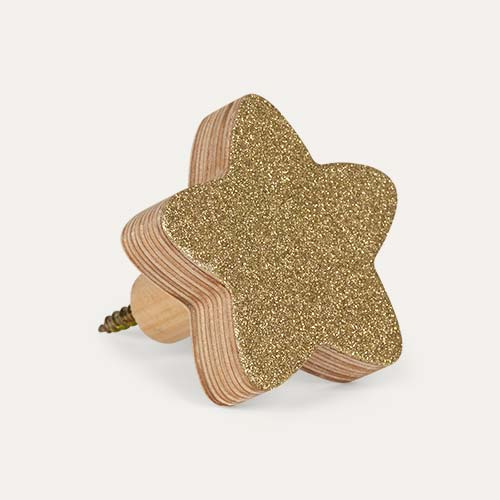 Glitter gold Knobbly Star Wall Hook