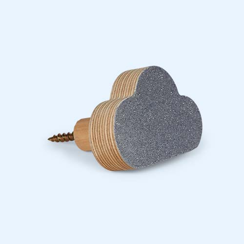 Glitter Silver Knobbly Cloud Wall Hook