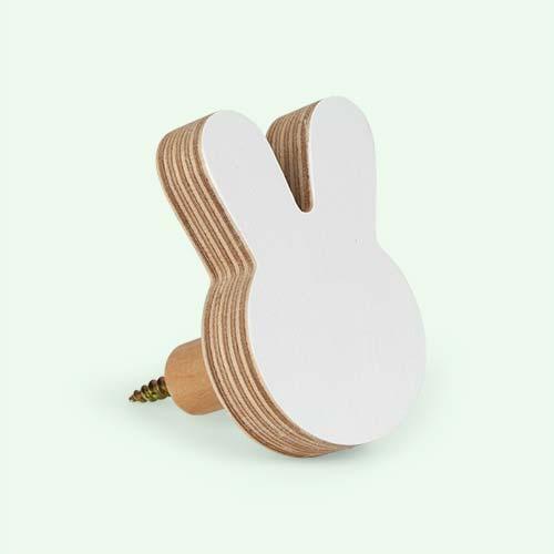 White Knobbly Bunny Wall Hook
