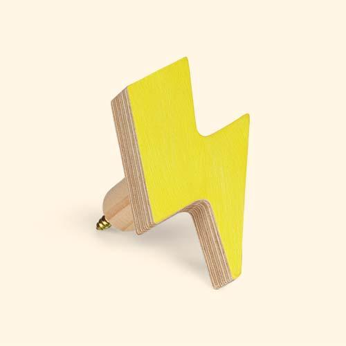 Yellow Knobbly Lightning Bolt Wall Hook