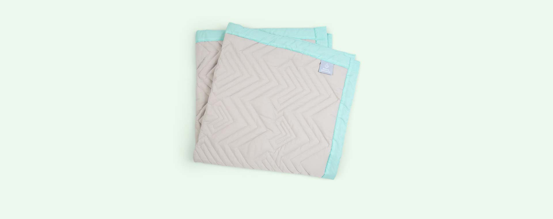 Grey and turquoise trim Mama Designs Playmat