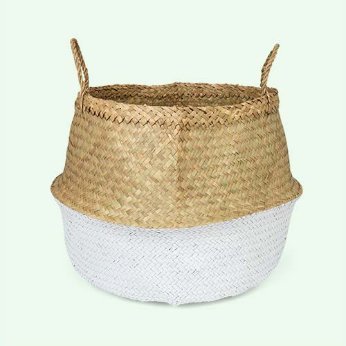 White Bloomingville Large Seagrass Basket