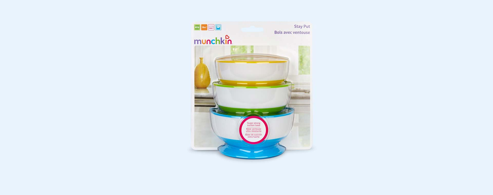 Multi Munchkin Stay Put Suction Bowls 3 pack