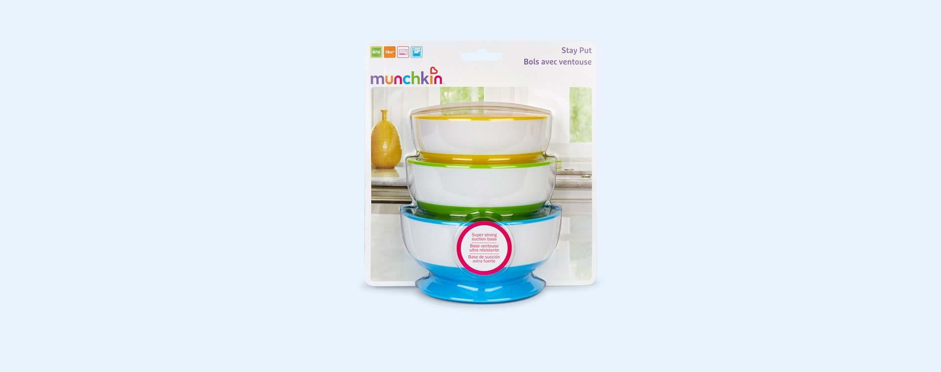 Multi Munchkin Stay Put Suction Bowls 3 pack