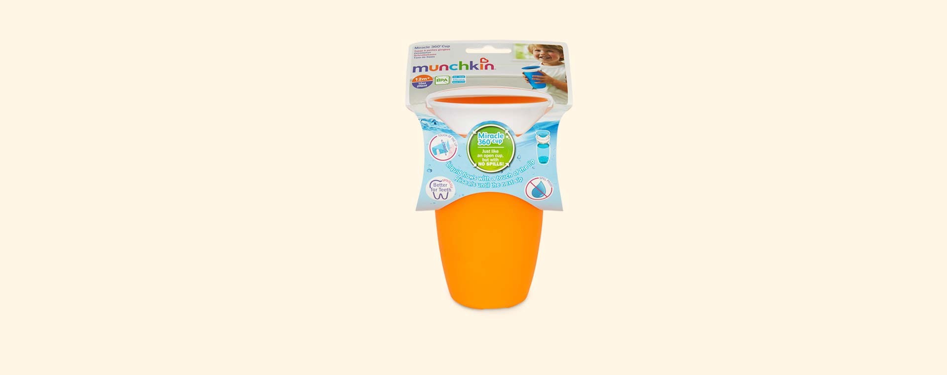 Orange Munchkin Miracle 360 sippy cup