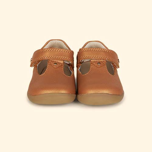 Caramel Shimmer Bobux Step-Up Louise T-bar Shoe