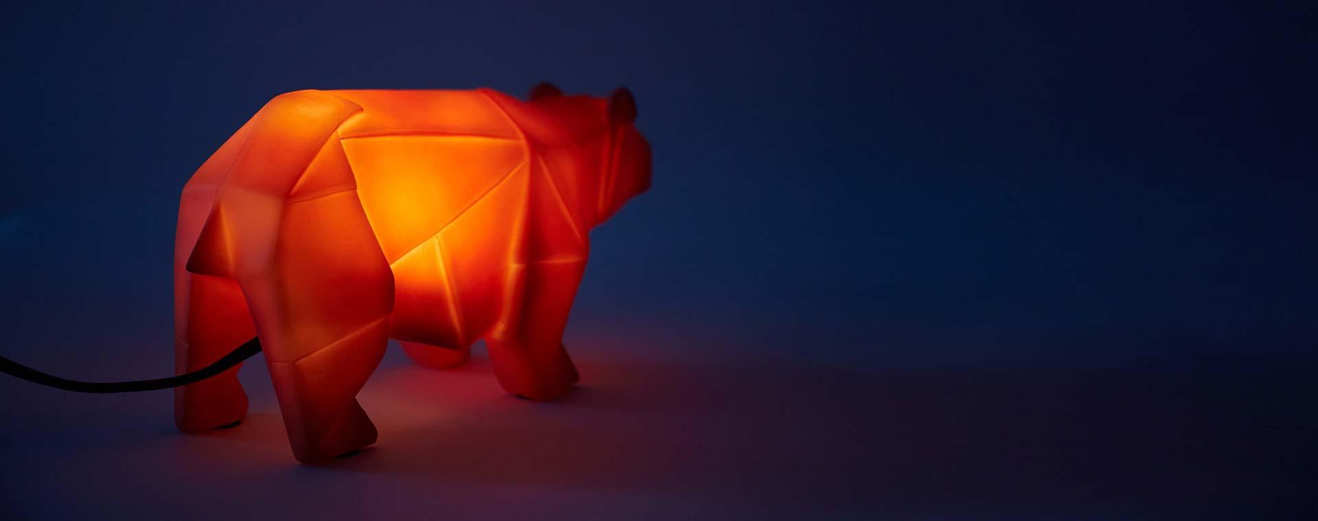 Orange House of Disaster Bear Lamp