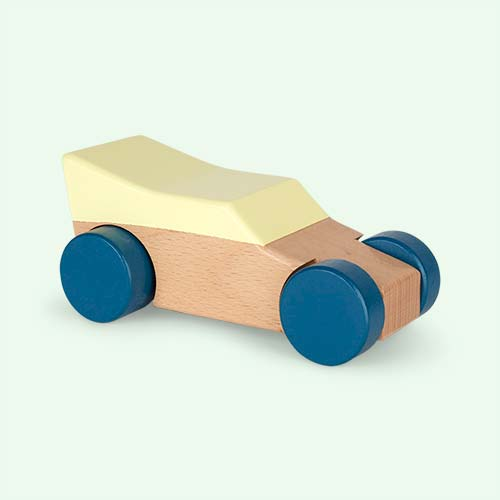 Yellow Sebra Wooden Race Car