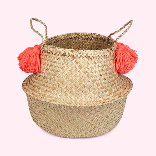 Coral Meri Meri Tassel Basket