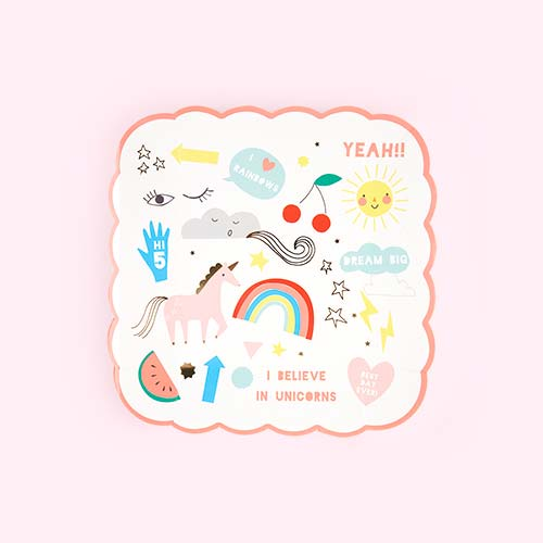 Unicorn Meri Meri Rainbow and Unicorn Small Plate